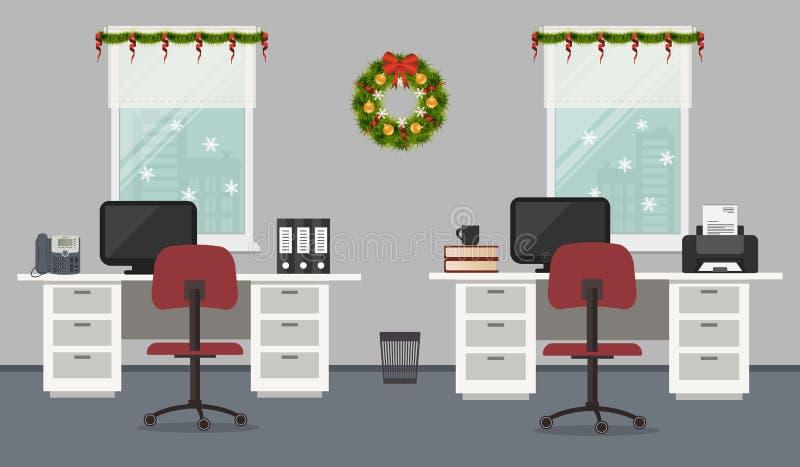 Büroraum, verziert mit Weihnachtsdekoration vektor abbildung