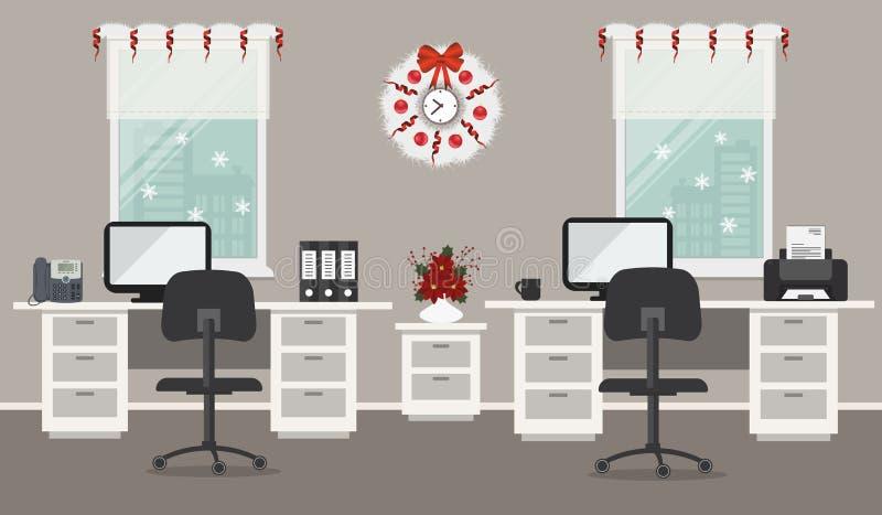 Büroraum, verziert mit Weihnachtsdekoration stock abbildung