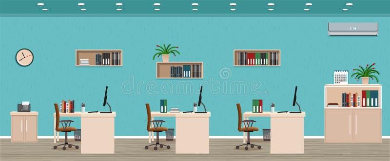 Bürorauminnenraum einschließlich drei Arbeitsplätze mit Stadtbild außerhalb des Fensters Arbeitsplatzorganisation stockfotos