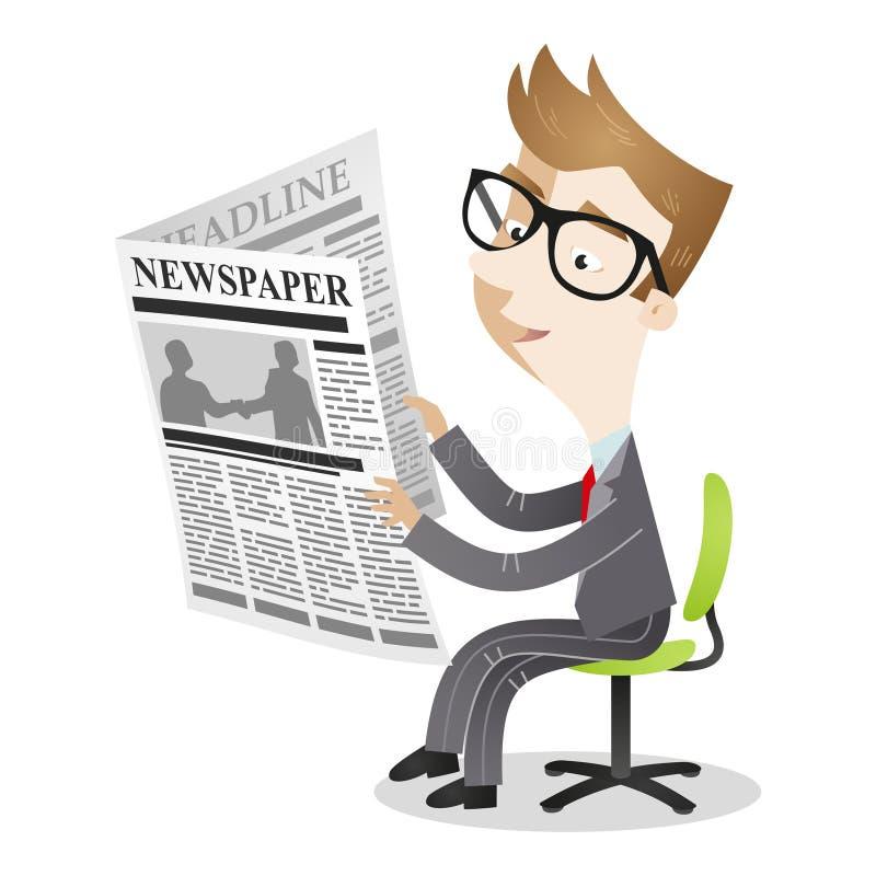 Bürostuhl-Lesezeitung des Karikaturgeschäftsmannes sitzende lizenzfreie abbildung