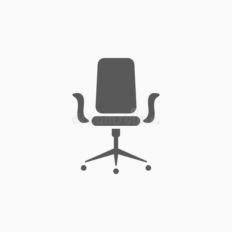 Bürostuhl, Möbel, Lehnsesselikone stock abbildung