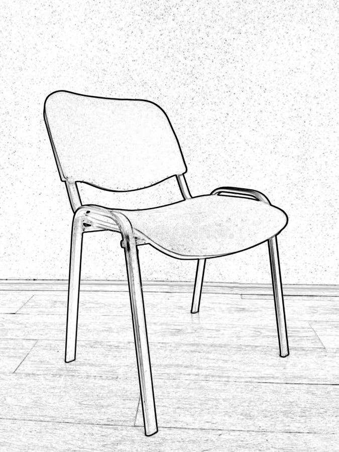 Bürostuhl, Schwarzweiss-Zeichnung, Fotoverarbeitung lizenzfreies stockfoto