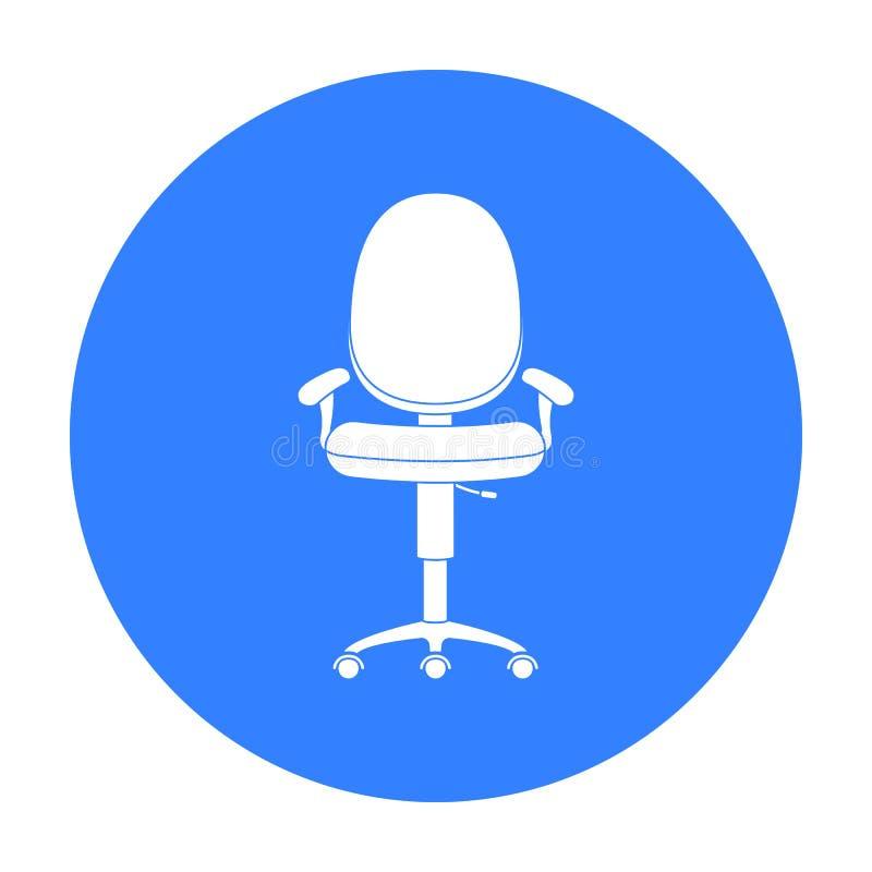 Bürostuhlikone in der schwarzen Art lokalisiert auf weißem Hintergrund Büromöbel und Innensymbolvorratvektor vektor abbildung