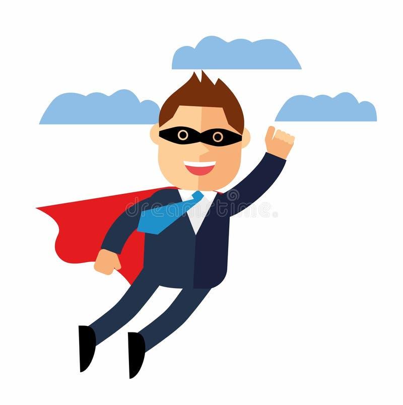 Bürosuperheld-Geschäftsmannfliegen Glückliche Arbeitskraft GeschäftsKonzept des Entwurfes Auch im corel abgehobenen Betrag lizenzfreie abbildung