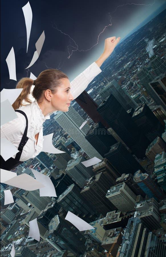 Bürosupermann stockfoto