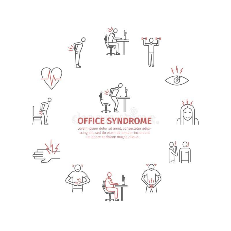 Bürosyndrom infographic Symptome und Ursachen Linie Ikonen eingestellt Vektor stock abbildung