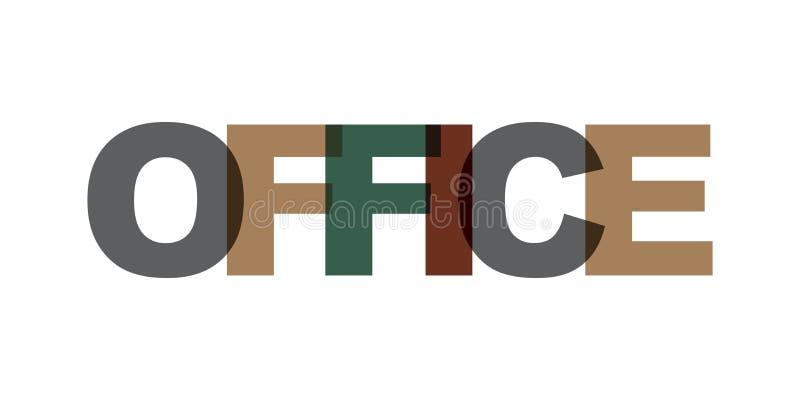 Bürovisitenkartetext Modernes Beschriftungsplakat Farbwortkunst-Sloganikone Phrasenvektor-Druckgestaltungselemente vektor abbildung