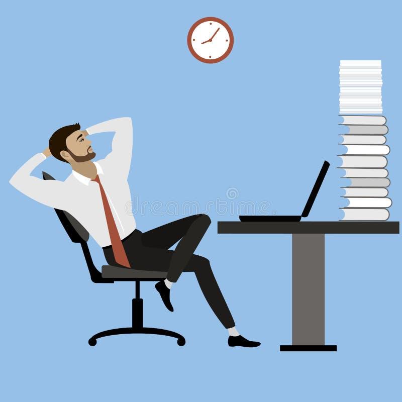 Bürovorsteher oder Geschäftsmann entspannt sich nach vieler Arbeit, stock abbildung