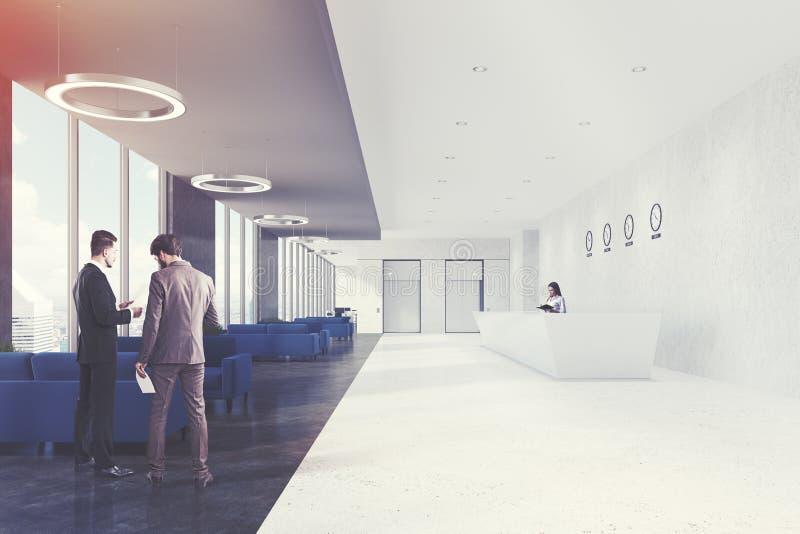 Bürowartebereich und Aufnahme, Blau, Männer stock abbildung