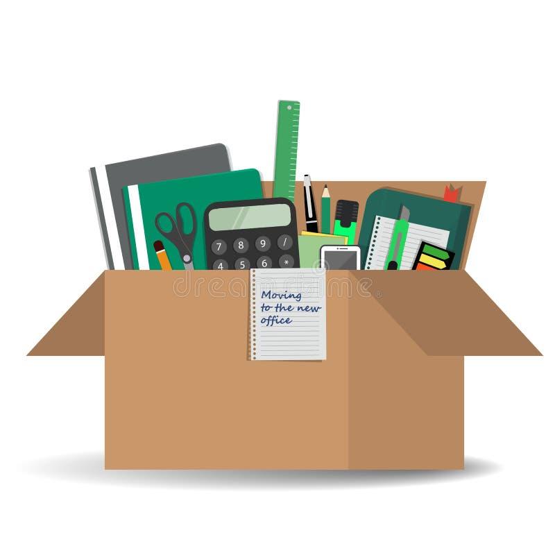Bürozubehör in einer Pappschachtel `, das auf das neue Büro ` Konzept sich bewegt lizenzfreie abbildung