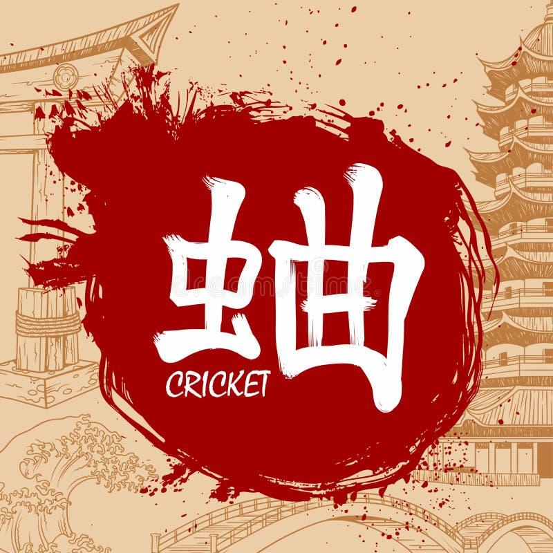 Bürste gezeichnetes japanisches Kandschi mit Bedeutung stock abbildung