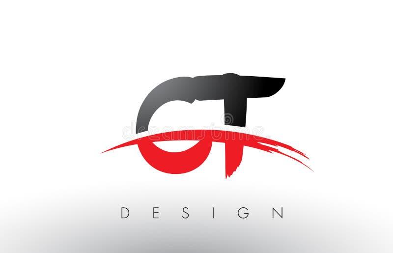 Bürste Logo Letters CT C T mit roter und schwarzer Swoosh-Bürsten-Front stock abbildung