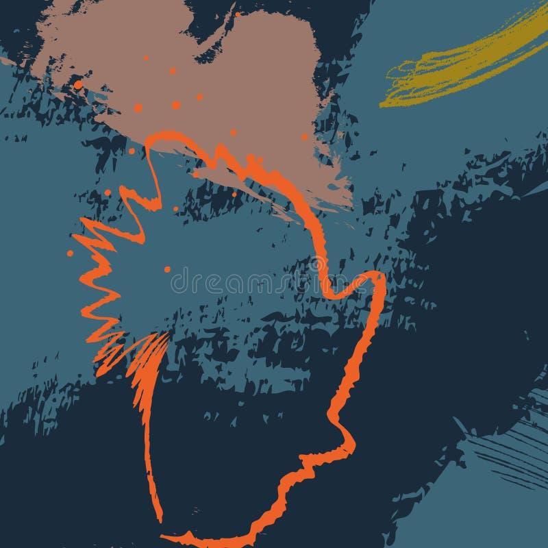 Bürsten-Anschlagmuster der Vektormarine orange dymanic Kreativer zeitgenössischer Dekorationsdruck des Kontrastmarinegrüns böhmis lizenzfreie abbildung