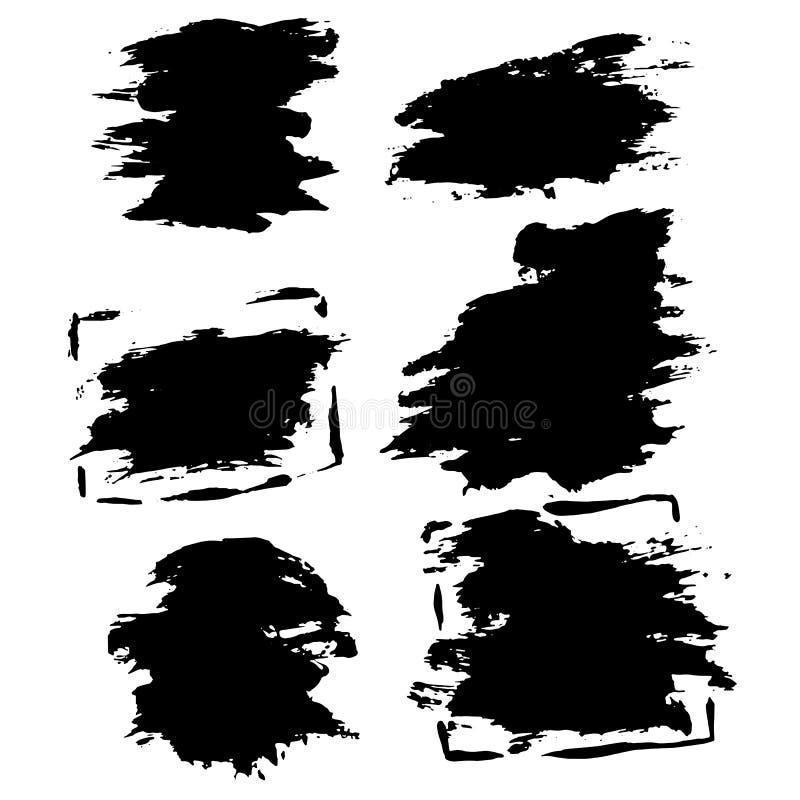 Bürsten-Fahnensatz des Tintenvektors trockener Auch im corel abgehobenen Betrag Gezeichnete Aquarellbeschaffenheit des Schmutzes  stock abbildung