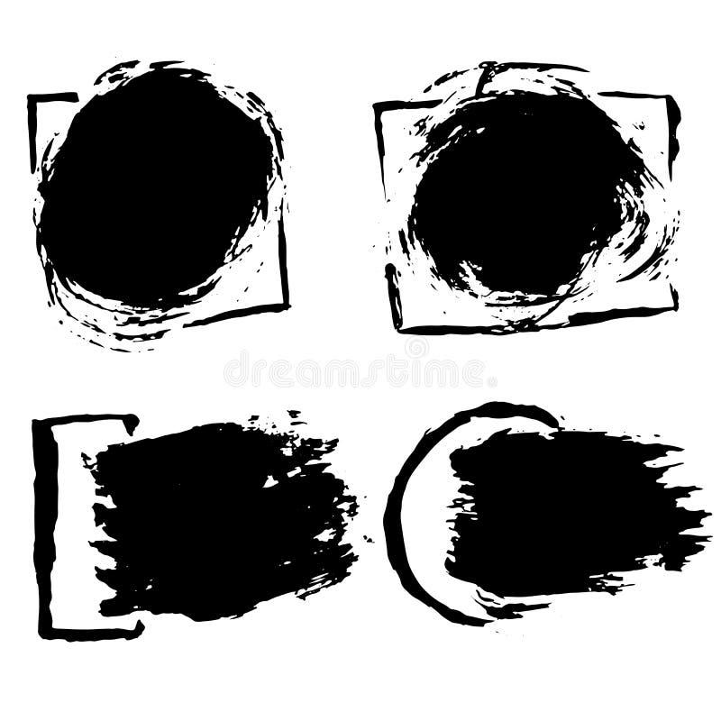 Bürsten-Fahnensatz des Tintenvektors trockener Auch im corel abgehobenen Betrag Gezeichnete Aquarellbeschaffenheit des Schmutzes  lizenzfreie abbildung