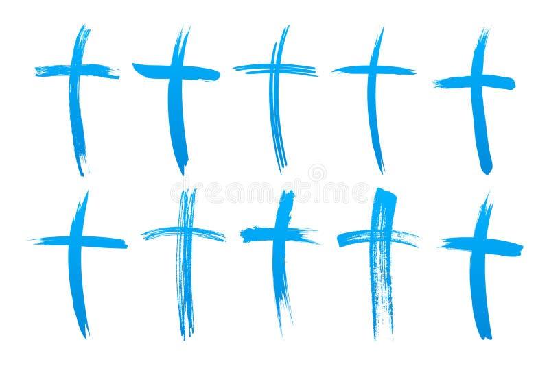 Bürsten-Kreuz stellte Christian Icons ein vektor abbildung