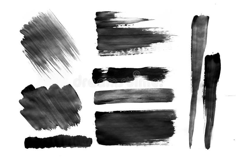 Bürsten Sie Anschläge mit Aquarellfarbe auf Papierbürstenanschlägen mit Aquarellfarbe auf Papier stock abbildung
