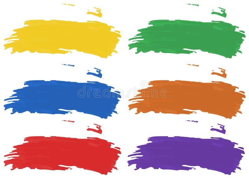 Bürsten Sie Anschläge in sechs Farbe von Acrylfarben vektor abbildung