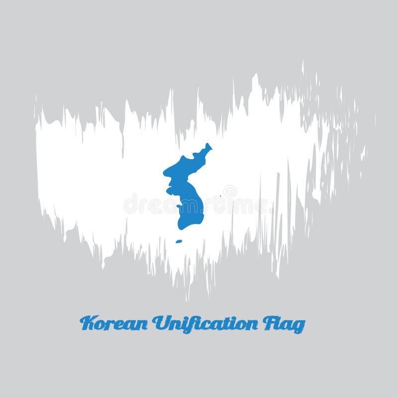 Bürsten Sie Artfarbflagge der koreanischen Vereinheitlichungs-Flagge, des Nordkoreas, des Südkoreas und der koreanischen Halbinse lizenzfreie abbildung