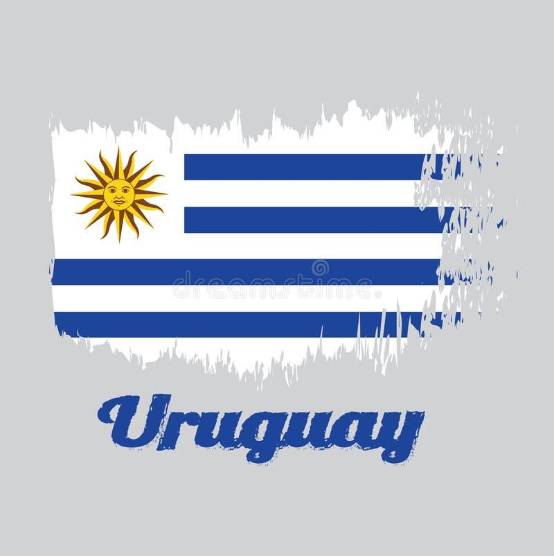 Bürsten Sie Artfarbflagge von Uruguay, horizontale Streifen der weißen Alternative mit hellblauem und den Sun von Mai stock abbildung