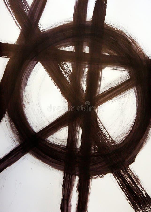 Bürsten Sie gezogene gerade schneidene Linien und einen Kreis stock abbildung