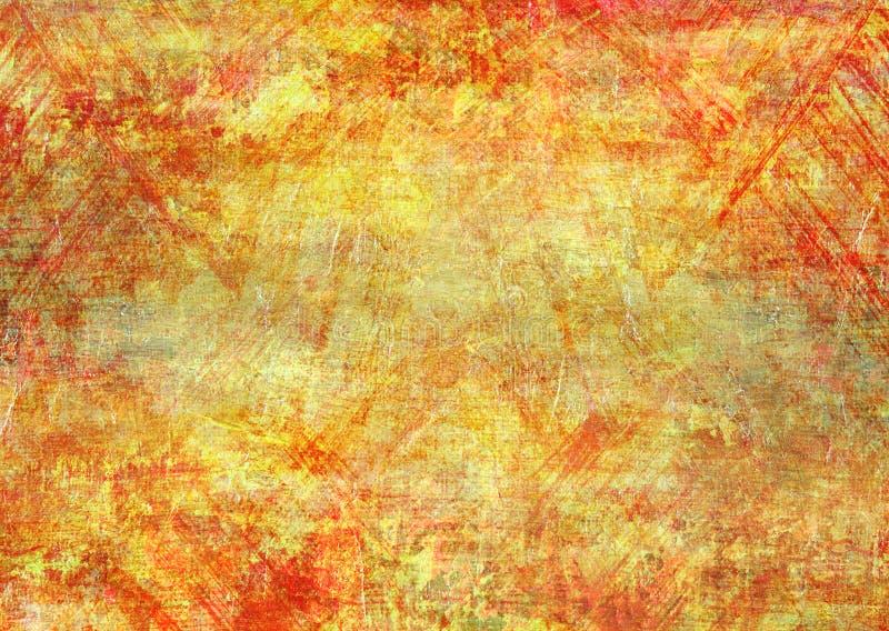 Bürsten Sie Kratzer-gelbes rotes Anschlag-Segeltuch-abstrakten malenden Schmutz Rusty Distorted Decay Old Texture für Autumn Back lizenzfreie stockfotos