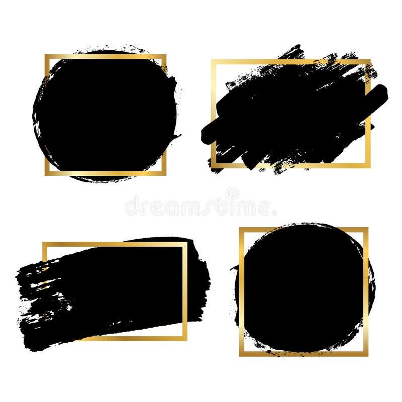 Bürstenanschläge Satz, Goldtextbox, lokalisierter weißer Hintergrund Schwarzer Pinsel Schmutzbeschaffenheits-Anschlagrahmen Tinte stock abbildung