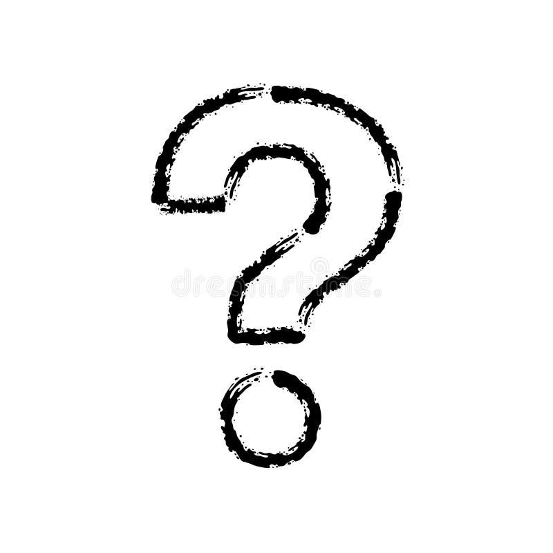 Bürstenanschlaghandgezogene Vektorikone des Fragezeichens lizenzfreie abbildung