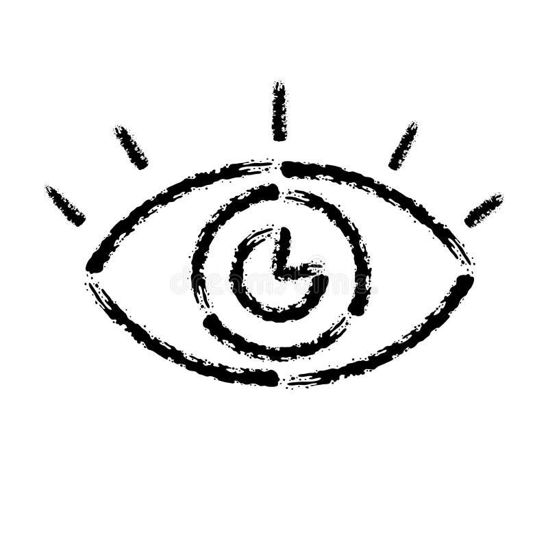 Bürstenanschlaghandgezogene Vektorikone des menschlichen Auges stock abbildung