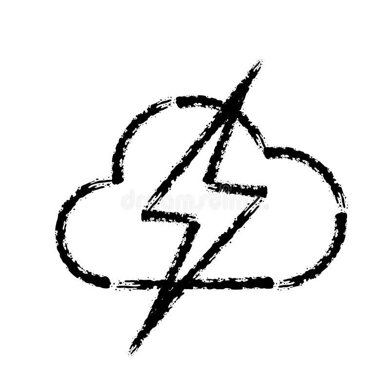 Bürstenanschlaghandgezogene Vektorikone des Sturmwetter-Blitzschlages lizenzfreie abbildung