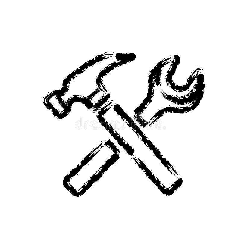 Bürstenanschlaghandgezogene Vektorikone von Reparaturwerkzeugen lizenzfreie abbildung