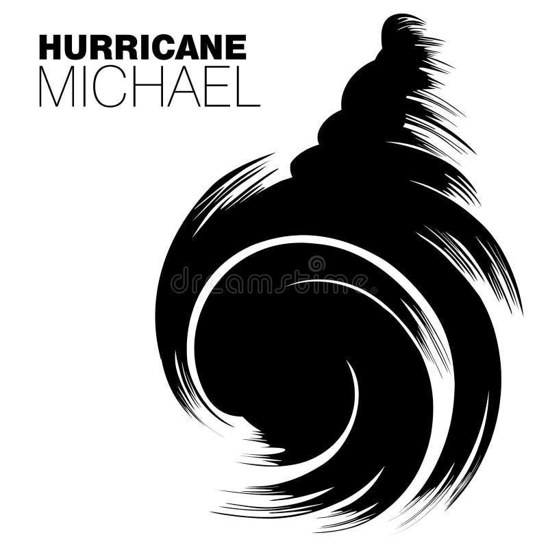 Bürstenartdesign des Hurrikans Michael in den großen mutigen schwarzen Anschlägen lizenzfreie abbildung