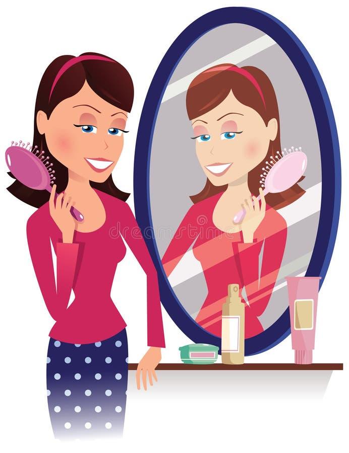 Bürstendes Haar des Mädchens im Spiegel lizenzfreie abbildung