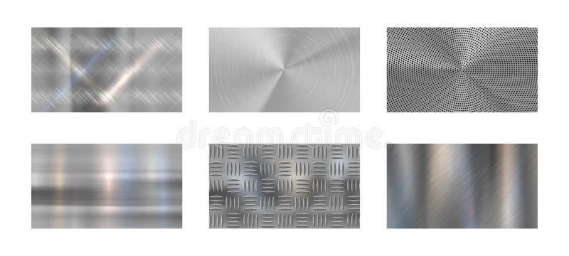 Bürstenmetall Metallstruktur aus Stahl, poliertes Chrom und Silbermetalle glänzen realistisches Vektor-Hintergrundbild lizenzfreie abbildung