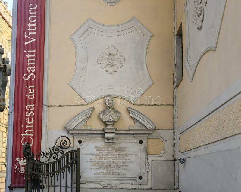 Büste von Maurizio Dufour in Genua, Norditalien lizenzfreie stockbilder