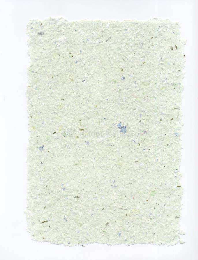 Büttenpapier hellgrünes Flecked mit zackigen Rändern stockfotografie