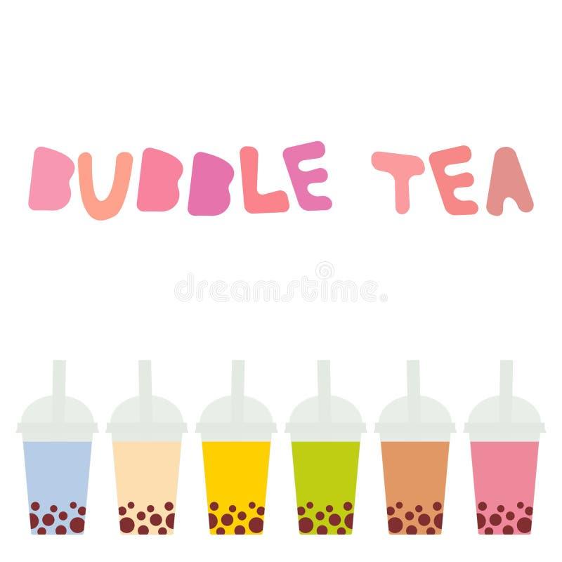 Bąbel herbata z różnymi owoc i jagodami Dojni koktajle w plastikowej filiżance, tubule Różni rodzaje bąbel herbaty koktajle _ ilustracji