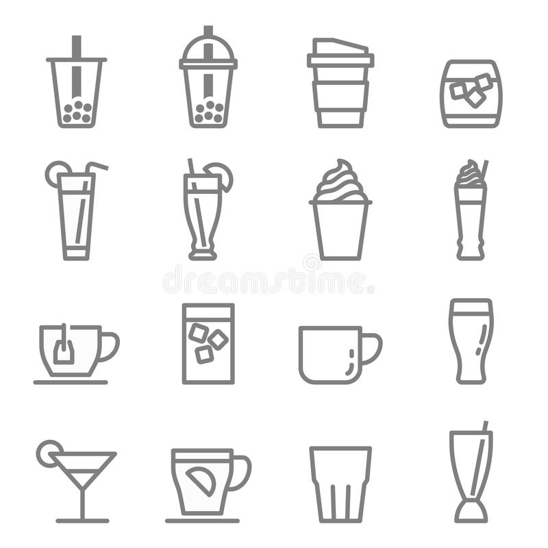 Bąbel herbaty napojów i napojów ikony ilustracji