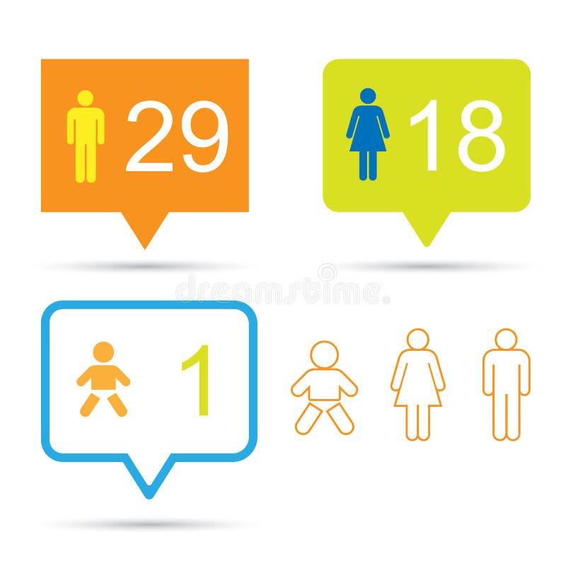 Bąbel rozmowa z ludzkimi ikonami i liczbą royalty ilustracja