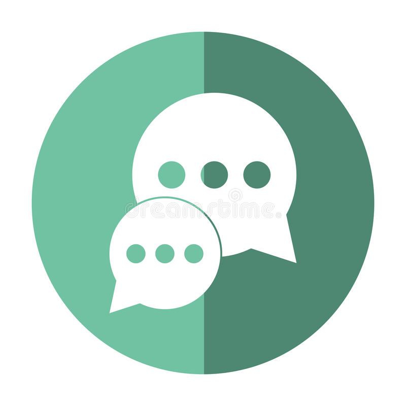 Bąbel rozmowy dialog gawędzenia środków zieleni okręgu ogólnospołeczny cień ilustracja wektor