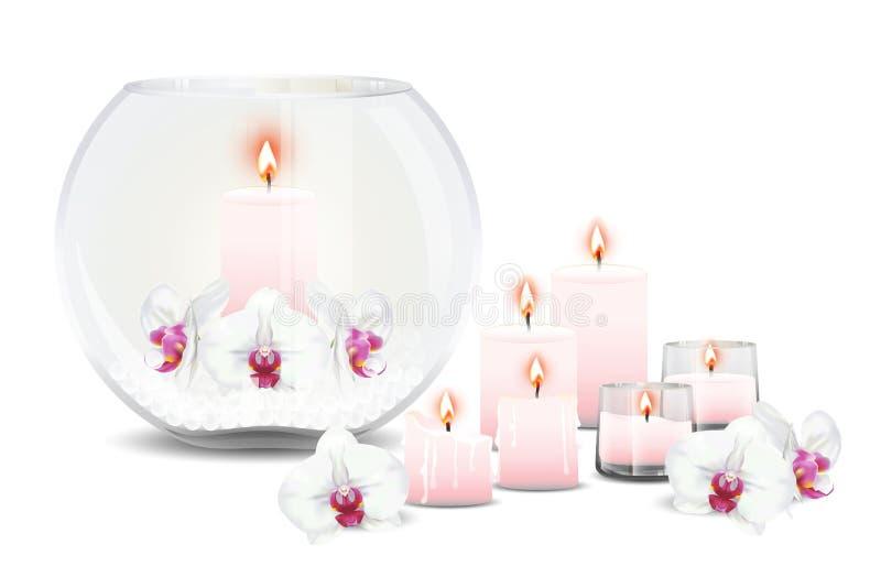 Bąbel waza z orchideami i świeczkami royalty ilustracja