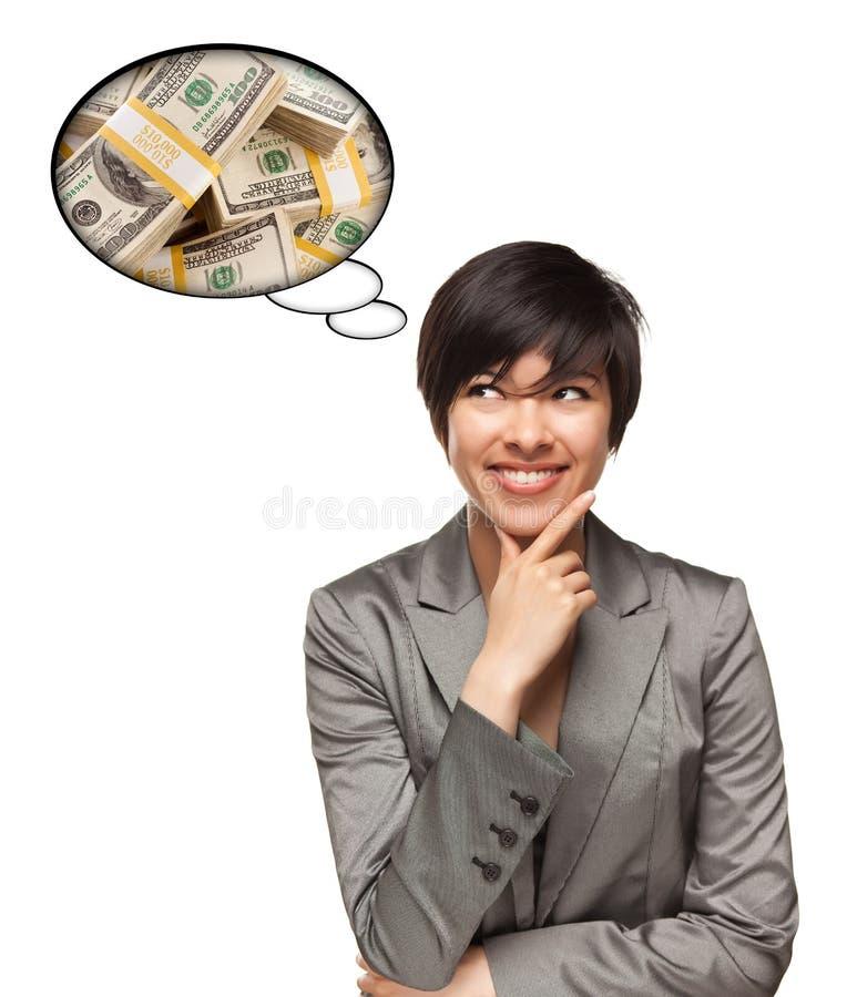 bąbla pieniądze wieloetniczna myśli kobieta fotografia stock