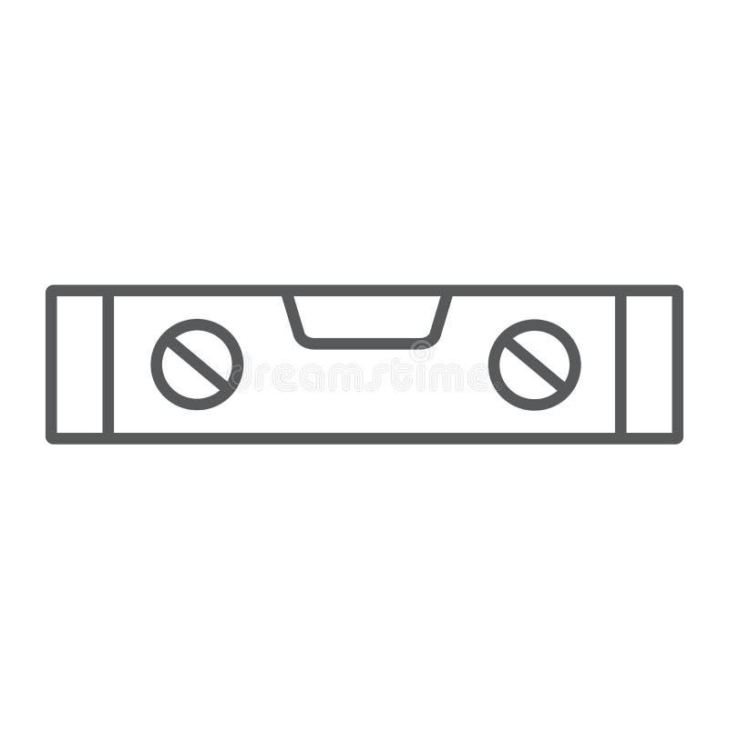 Bąbla pozioma narzędzia cienka kreskowa ikona, narzędzie i miara, równy władca znak, wektorowe grafika, liniowy wzór royalty ilustracja