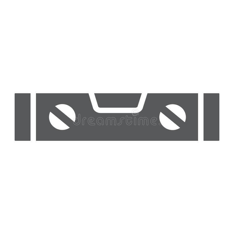 Bąbla pozioma narzędzia glifu ikona, narzędzie i miara, równy władca znak, wektorowe grafika, bryła wzór na białym tle royalty ilustracja