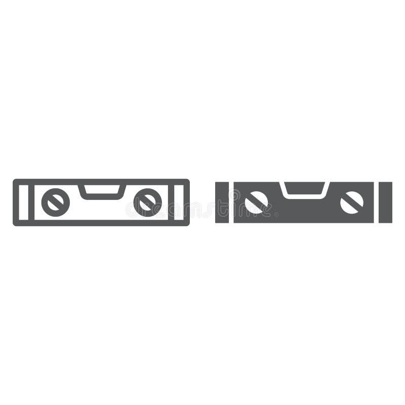 Bąbla pozioma narzędzia linia, glif ikona, narzędzie i miara, równy władca znak, wektorowe grafika, liniowy wzór royalty ilustracja