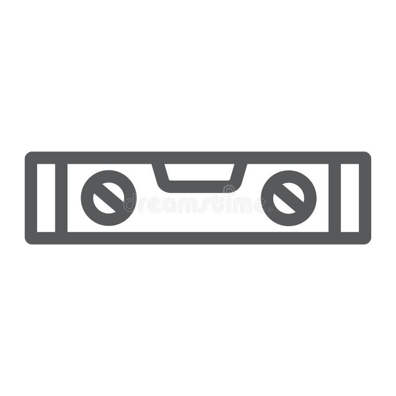 Bąbla pozioma narzędzia linii ikona, narzędzie i miara, równy władca znak, wektorowe grafika, liniowy wzór na białym tle royalty ilustracja