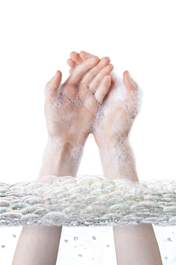 Bąble Myje ręki higienę zdjęcia stock
