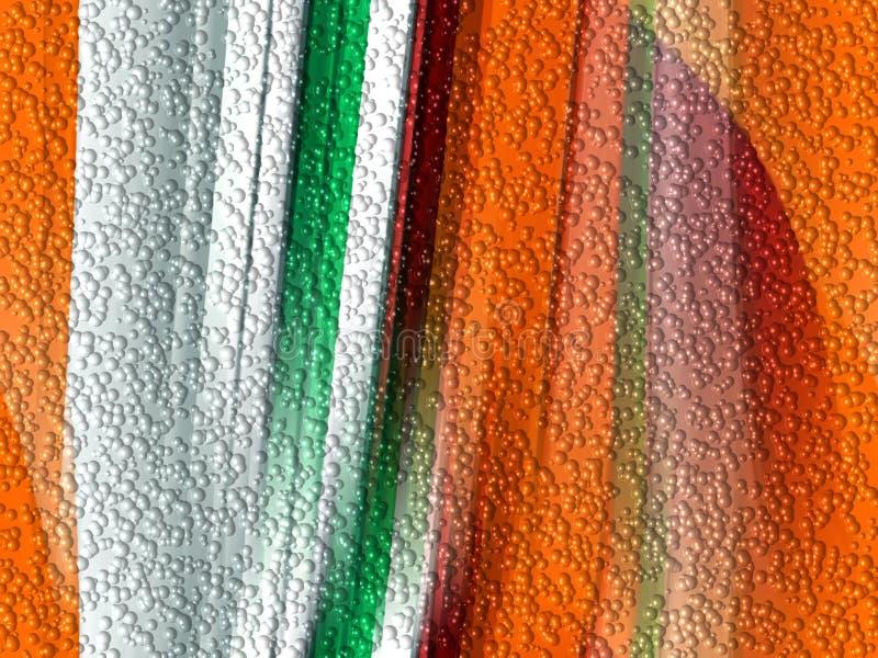 Bąble, pomarańcz geometrii zielony tło, abstrakcjonistyczne kolorowe geometrie ilustracja wektor