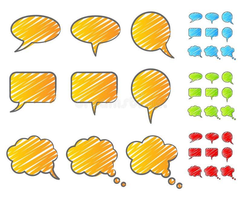 Bąbli mowy skrobanina ilustracji