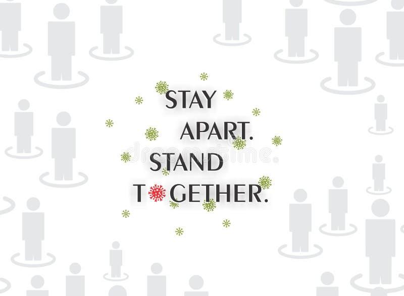 'Bądź z dala od siebie'Wiedza o wirusach Corona Wiadomość SMS Graficzna ilustracja Tło tapety w klipie wektorowym royalty ilustracja